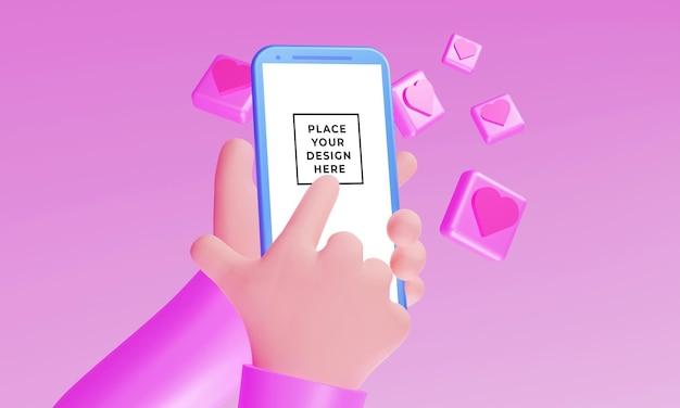 Mão 3d realista com maquete de smartphone com um ornamento de coração flutuante