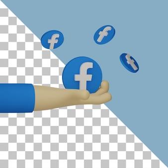 Mão 3d segurando o logotipo do fb para ilustração de propósito de marketing