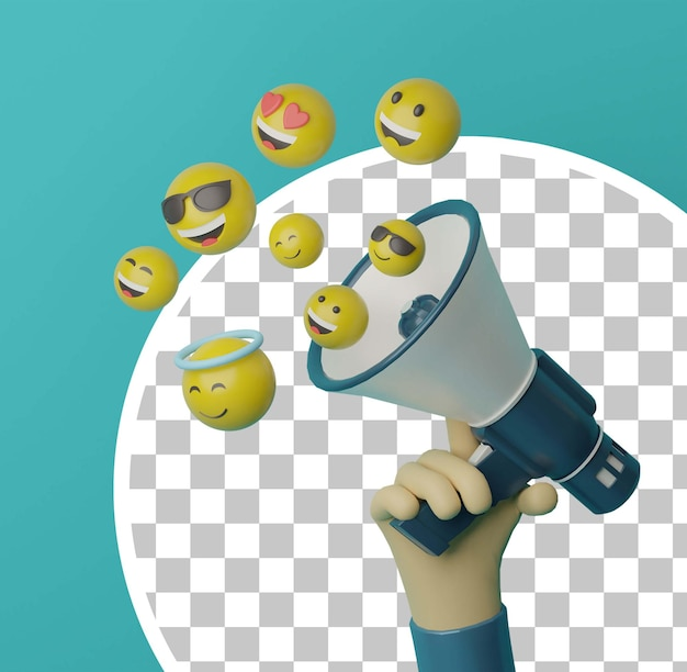 Mão 3d segurando o megafone com emoji voador para o conceito de propaganda