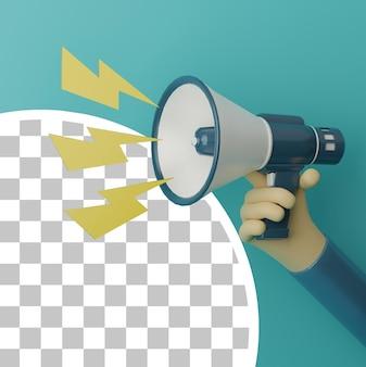 Mão 3d segurando o megafone e ilustração de iluminação amarela com fundo azul para o conceito de publicidade
