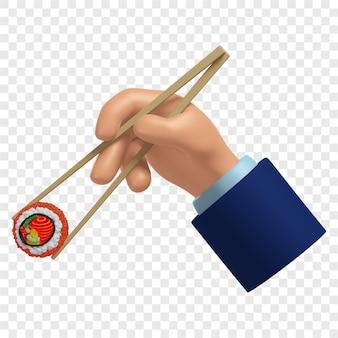 Mão 3d segurando um rolo de sushi com varas de bambu cozinha japonesa isolada renderização 3d