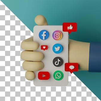 Mão 3d segurando um telefone celular com o logotipo de mídia social renderizado de plano de fundo para o conceito de marketing