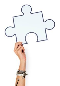 Mão, cima, segurando, jigsaw, ilustração