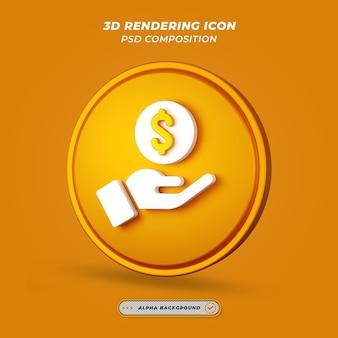 Mão com ícone de cifrão em renderização 3d