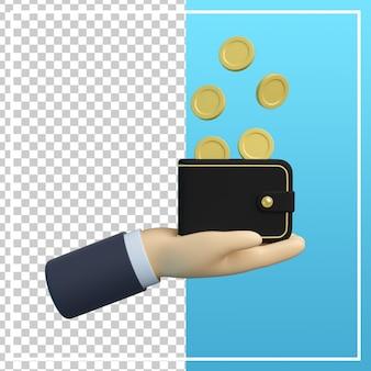 Mão de desenho 3d com carteira e moeda