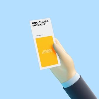 Mão de desenho 3d com maquete de brochura