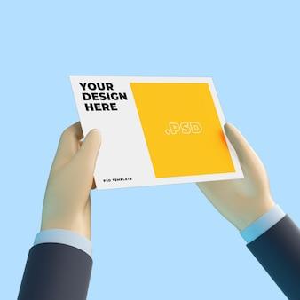 Mão de desenho 3d com maquete de panfleto a4