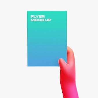 Mão de desenho 3d com maquete de panfleto