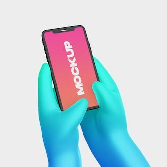 Mão de desenho 3d com maquete de telefone