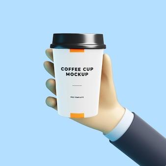 Mão de desenho 3d com maquete de xícara de café