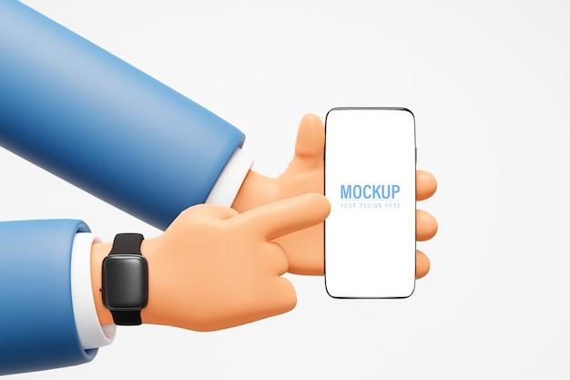 Mão de desenho animado, segurando a maquete do telefone Psd Premium