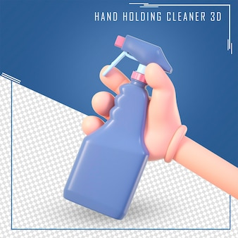 Mão de desenho em 3d segurando a garrafa de limpeza