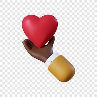 Mão de empresário afro-americano de desenho animado com coração