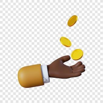 Mão de empresário afro-americano de desenho animado com moedas