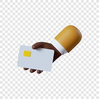 Mão de empresário afro-americano de desenho animado segurando um cartão de crédito