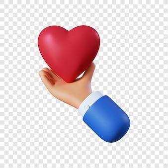 Mão de empresário de desenho animado com coração