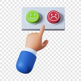 Mão de empresário de desenho animado com dois botões