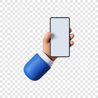 Mão de empresário de desenho animado com smartphone