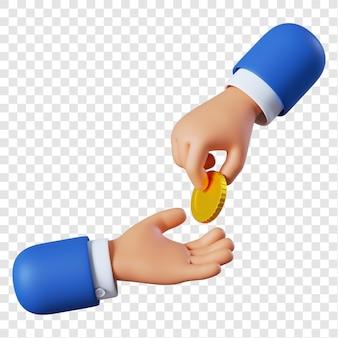 Mão de empresário de desenho animado dando moedas Psd Premium