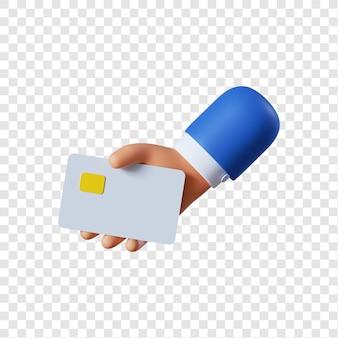 Mão de empresário de desenho animado segurando cartão de crédito