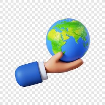 Mão de empresário de desenho animado segurando um globo