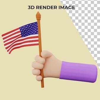 Mão de renderização 3d com conceito de dia da independência dos estados unidos