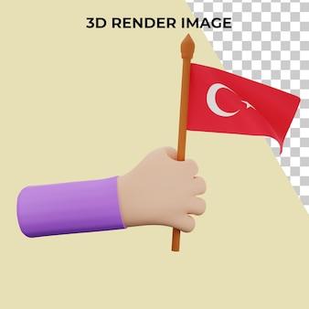 Mão de renderização 3d com conceito do dia nacional da turquia