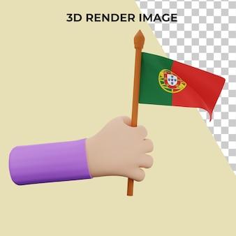 Mão de renderização 3d com conceito do dia nacional de portugal