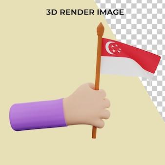 Mão de renderização 3d com conceito do dia nacional de singapura