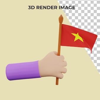 Mão de renderização 3d com conceito do dia nacional do vietnã