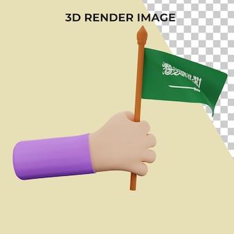 Mão de renderização 3d com conceito premium do dia nacional da arábia saudita psd