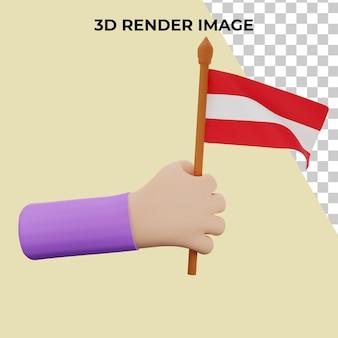 Mão de renderização 3d com o conceito do dia nacional da áustria