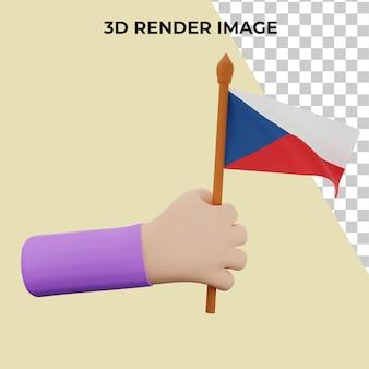 Mão de renderização 3d com o conceito do dia nacional da república tcheca
