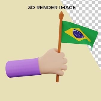 Mão de renderização 3d com o conceito do dia nacional do brasil Psd Premium