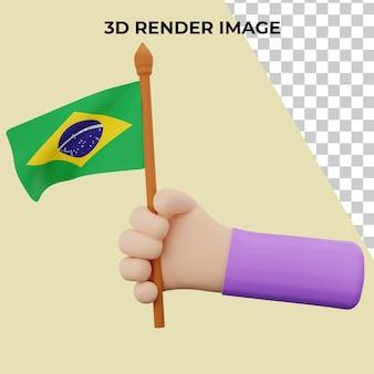 Mão de renderização 3d com o conceito do dia nacional do brasil