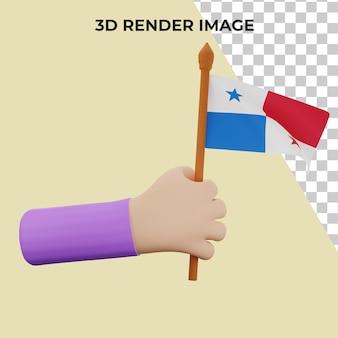 Mão de renderização 3d com o conceito do dia nacional do panamá