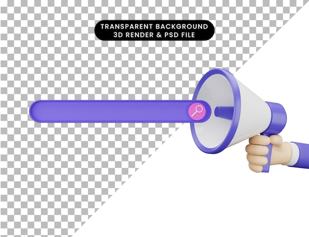 Mão de renderização 3d segurando o megafone e o botão de pesquisa