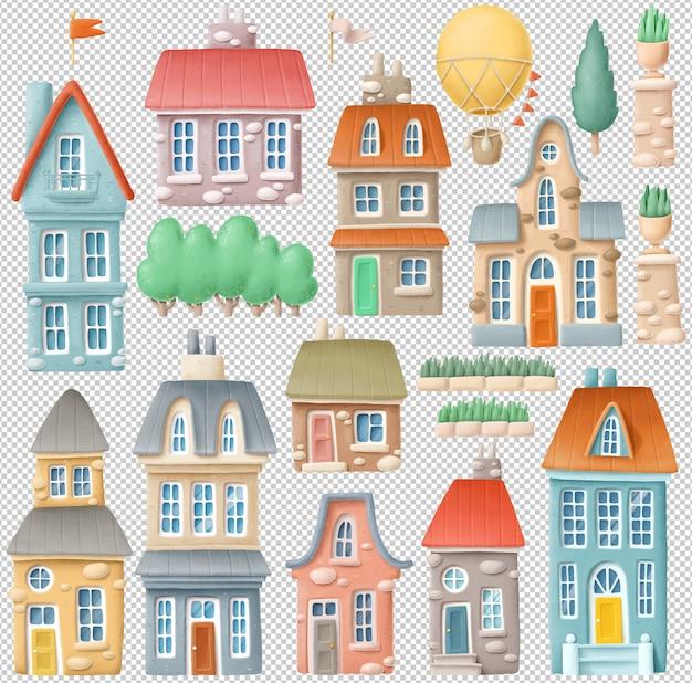 Mão desenhada edifícios clipart coleção
