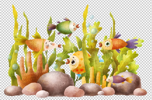 Mão desenhada ilustração de aquário