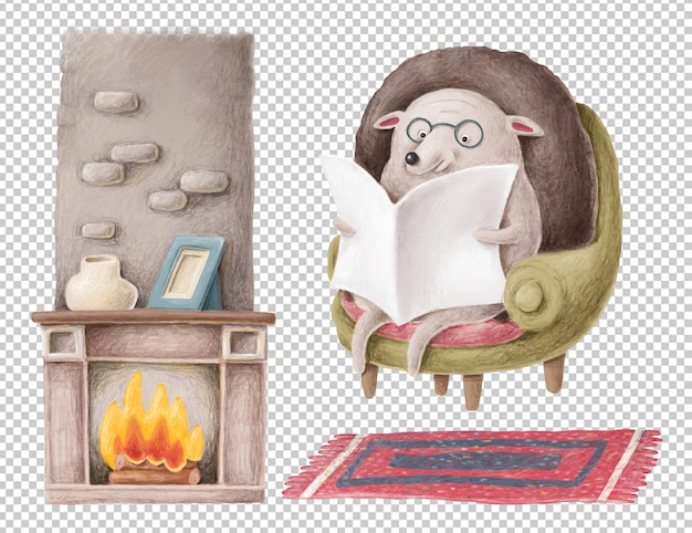 Mão desenhada ilustração de ouriço