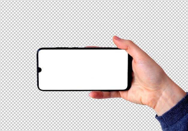 Mão direita isolada segurando smartphone