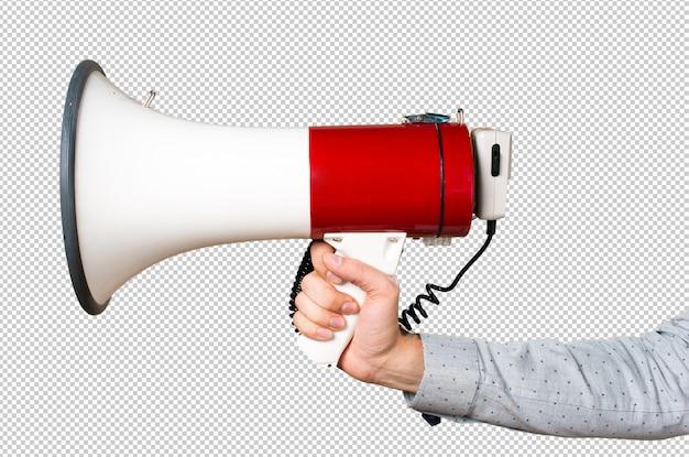 Mão do homem segurando gritando pelo megafone