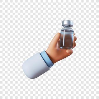 Mão do médico com vacina