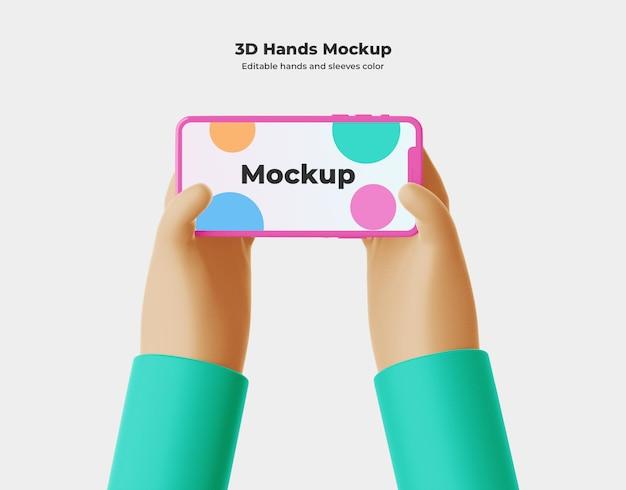 Mão dos desenhos animados 3d com renderização 3d do telefone