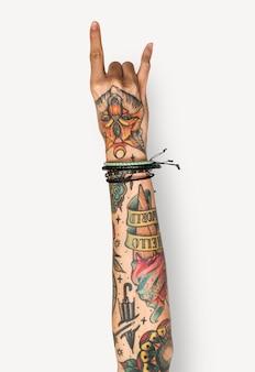 Mão, fazendo, punk, gesto