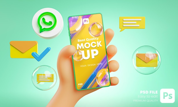 Mão fofa segurando ícones de whatapp no telefone em torno do modelo de renderização 3d