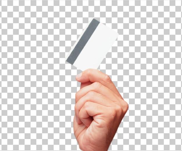 Mão masculina isolada, segurando um cartão de crédito