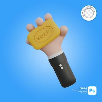 Mão segurando a ilustração 3d do sabonete