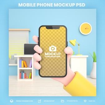 Mão segurando a maquete de renderização 3d do telefone para modelo de postagem de instagram de mídia social