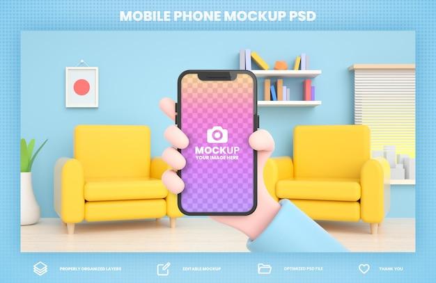 Mão segurando a maquete de renderização 3d do telefone para modelo de postagem de mídia social